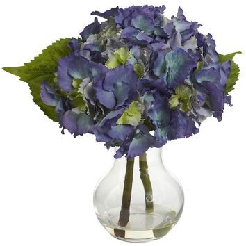 Artificial Flowers -Blooming Hydrangea With Vase No3 Silk Plant