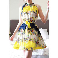 Yellow Floral Printed Halterneck Pleated Dresses With Belt