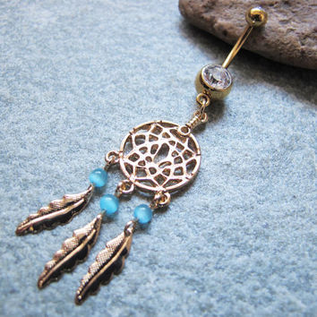 Gold Dream Catcher belly button ring , Beads Beads belly button jewelry
