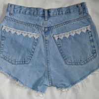 Highwaist Light denim Lace Trim shorts by VintageFrays on Etsy