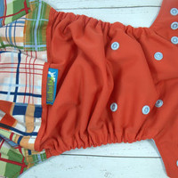 Plaids, Cotton (Wild Tomato outer, Light Blue snaps) Wrap Around, OS Pocket DiaperInstock and ready to ship