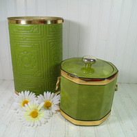 Vintage KraftWare Avocado & Gold Patent Leather Ice Bucket with Groovy Upholstered Textured Vinyl Oval Metal Waste Bin - Mid Century Decor