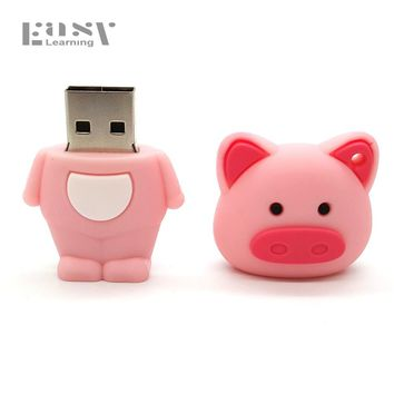 Easy Learning Cartoon Pig Pen Drive 4GB 8GB 16GB 32GB 64GB For Minions Zoo Animals USB Flash Drives Pendrive Toys Gifts