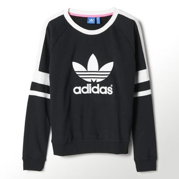 ADIDAS ORIGINALS 2014 Q3 WOMEN LOGO CREW SWEATER SHIRT M69756 Black White