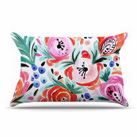 "Crystal Walen ""Boho Morning Glory"" Pink Orange Pillow Case"