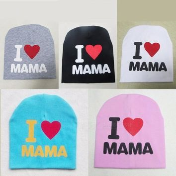 I Love Mama Letters Print Cute Baby Hat Beanie Casual Cotton Bab Girl Boy Hat White