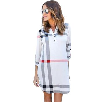 Plaid Women Autumn Dress Sexy V-Neck Vintage Office Dress Party Dresses Causal Mini Dress Plus Size Women Clothing  LJ5569T