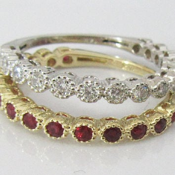 2 Anniversary Gift 2 Eternity Rings 14K White Gold with 15 Diamonds and 14K Yellow gold with 15 Rubies July Birthstone