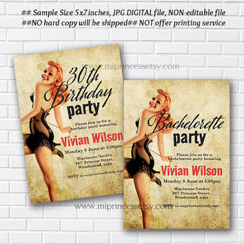 Pin Up Girls invitation, Hens party invitations, Bachelorette Party,  Vintage invitation, bridal shower, , Birthday party, pinup  - card 324
