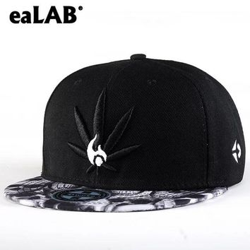 eaLAB Men Hip Hop Cap Summer Women Cap Hip Hop Snapback Hat Hemp Leaf Embroidery Adjustable Casual Sport Bone Baseball Cap