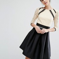 Little Mistress Tall 2 In 1 Lace Skater Dress With Contrast Skirt at asos.com