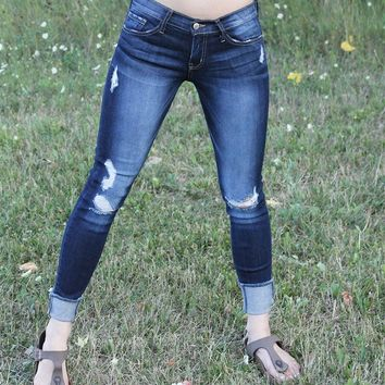 Skinny Roll Up Frayed Crop Jean