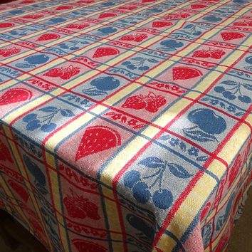 1970s Vintage Woven Red, Blue, Yellow Fruit & Berry Motif Tablecloth, Oval 75 x 55, Vintage Linens, 1960s Home Decor, Vintage Tablecloth