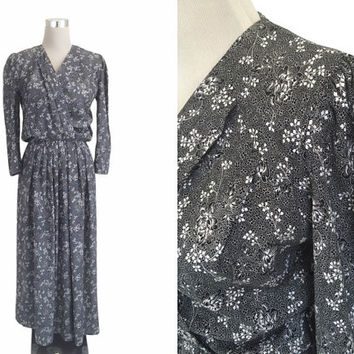 90's Dress - Vintage 1990's Dress - Randigarutan - Monochrome Black And White Floral Maxi Dress