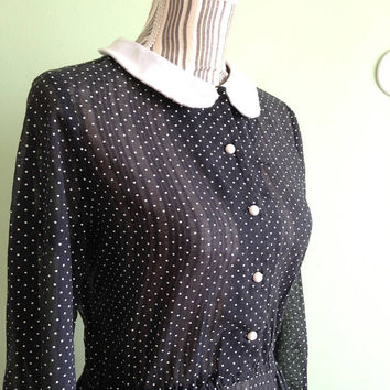 1950s Peter Pan Collar Dress, Sheer Cotton Dress, Long Sleeve Button Down 50s Secretary Dress, Black and White Polka Dot Teacher Dress, M