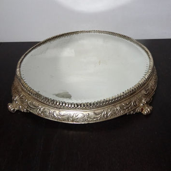 Antique Van Burg and P Co Silver Plated Round Mirrored Vanity/Dresser Tray with Ornate Footed Base - Shabby/Cottage Chic - Rustic Condition