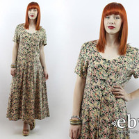 Vintage 90s Floral Maxi Dress L Green Floral Dress 90s Grunge Dress 90s Floral Dress Festival Dress Summer Dress Hippie Dress Boho Dress
