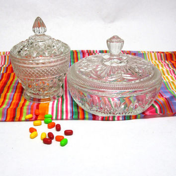 Clear Cut Glass Candy Dish Trinket Bowl Footed Lid Set Of Two
