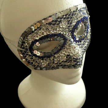 Silver and Blue Mask, Bead and Sequin Handmade Mask, Upcycled New Years Eve Masquerade Mask, Shiny Silver Sequin Mask,Free US Shipping