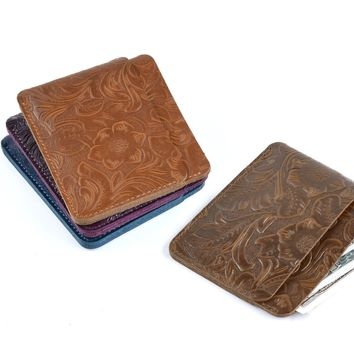 New Arrivals Credit ID Card Holders Slim Purse Vintage Flower Embossed Leather Customized Business Unisex Wallet