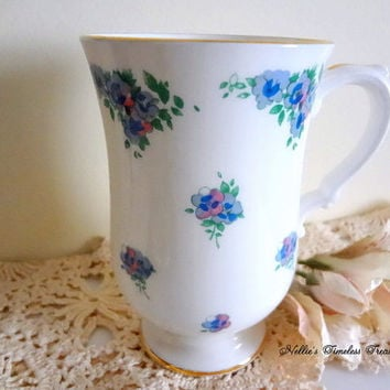 Vintage Royal Victoria Bone China Mug with Pansies,Vintage Bone China,England Made Coffee Tea Mug,Vintage Mug,English Fine Bone China,Gift
