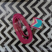 New Super Cute Jeweled Multi Color Chevron Designed Wall iphone 5/5s Charger + 10ft Hot Pink Cable Cord Super Long