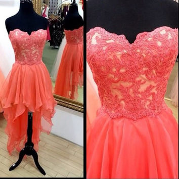 Hi-Lo Prom Dresses,Pink Prom Dresses,Long Evening Dress