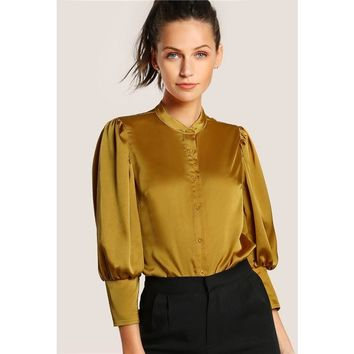 Slim Fit Button Front Mustard Blouse