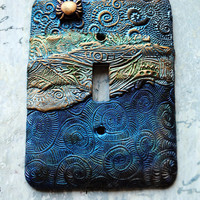 Golden Crab switch plate cover, polymer clay, ocean theme, one of a kind, dark blues, green, copper and bronze accents