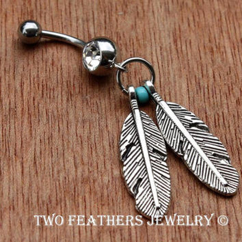 Belly Button Ring - Two Feathers Belly Ring - Silver Feathers - Belly Button Jewelry - Body Jewelry - Turquoise And Silver - Belly Dancer
