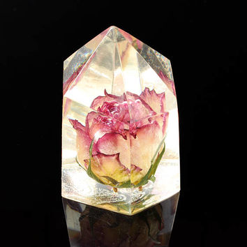 Preserved rose in clear resin, Crystal point encapsulated flowers, Faux clear quartz with red rose, Rustic home decor, Unique desk accessory
