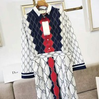 GUCCI Fashionable Women Casual GG Letter Long Sleeve Dress