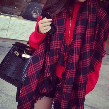ac PEAPON Cashmere Winter Plaid Thicken King Size Scarf [120845893657]