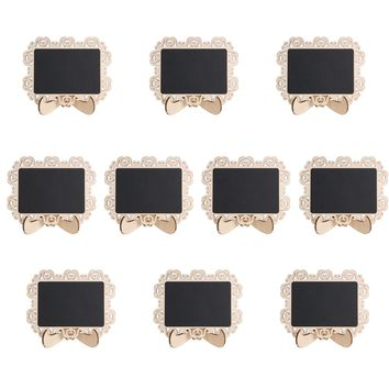 10pcs Mini Wood Blackboard for Message Board Signs Seat Stand Party Tag Hollow Pattern Decoration Wedding Decor