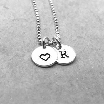 R Initial Necklace with Heart Charm, Sterling Silver, Letter R Necklace, All Letters Available, Hand Stamped Jewelry, Everyday Necklace