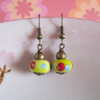 Green Lampwork Glass Earrings, Handmade Glass Earrings, Colorful Dots Lime Green Glass Beads