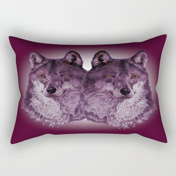 Season of the Wolf - Duet in Magenta Rectangular Pillow by michael jon