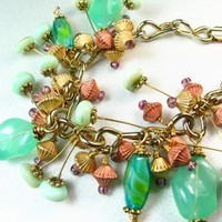 Green and Blue Glass Beads Copper and Gold Bracelet