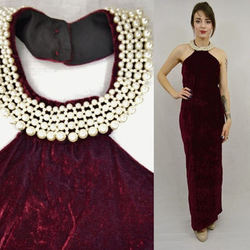 Velvet Dress Backless Maroon Beaded Collar Vintage Formal Dress 90s Long Skirt Medium Prom Dress Slit Pearls Crushed Velvet Red Wine