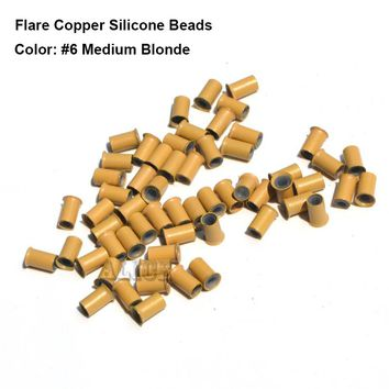 500 pieces 4.0*3.0*6.0MM Flared edge micro rings beads loop hair extensions copper silicone tube tools 7 Colors available