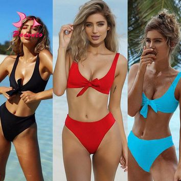 Pacento New Solid High Waist Bikini Tied Crop Top Sexy Swimsuit Women Swimwear Female 2017 Red Blue Black Bathing Suits Plavky