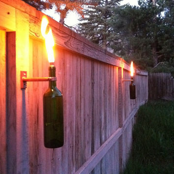 Wine Bottle Tiki Torches Improved Set of 2 by GuiltlessGlassware