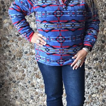 Navy & Red Tribal Southern Marsh Pullover