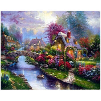 Diy Round diamond mosaic painting Embroidery Crafts Needlework gift for wall art decor pictures Beautiful villages Top10