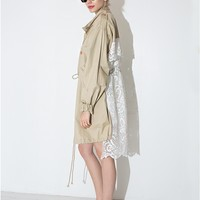 Lace Back Trench Jacket