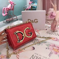 D&G Dolce & Gabbana Women Shopping Chain Leather Crossbody Satchel Shoulder Bag