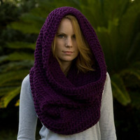 Oversized Hooded Cowl, Infinity Scarf, Purple Crochet Cowl Hood