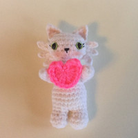 Valentine's Kitty with Heart - Crocheted Kitty Amigurumi - Ready to ship - handmade kitty