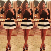Winter Hot Sale Stripes Mini Dress [9819099087]