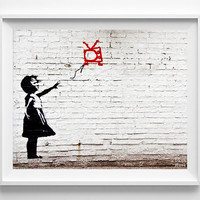 Banksy Print, Girl With Floating TV, Street Graffiti Art, Urban Artist, Stencil Art, Street Art, Home Decor, Fathers Day Gift